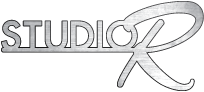 Studio R logo is brushed aluminum with a black stroke