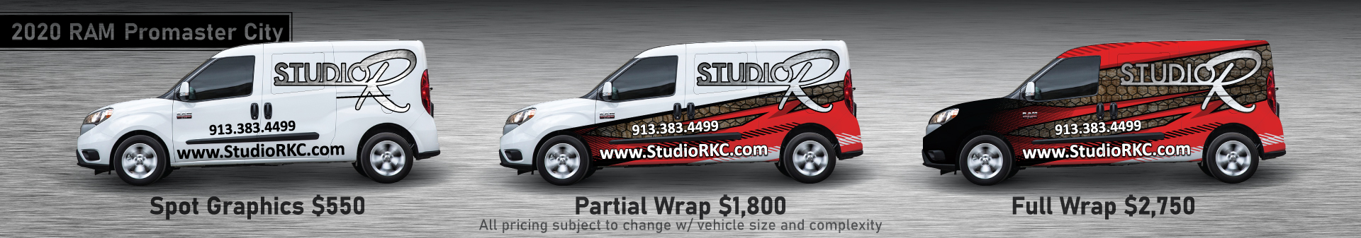 RAM ProMaster City displayed with Spot, Partial, and Full Wrap graphic layouts and potential pricing